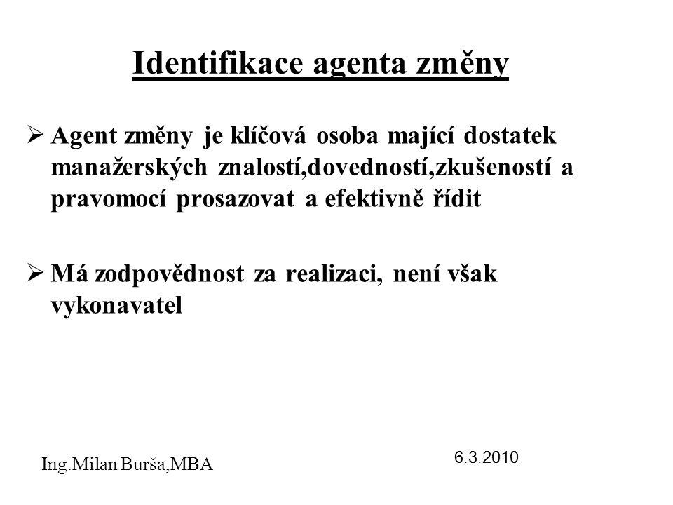 Identifikace agenta změny