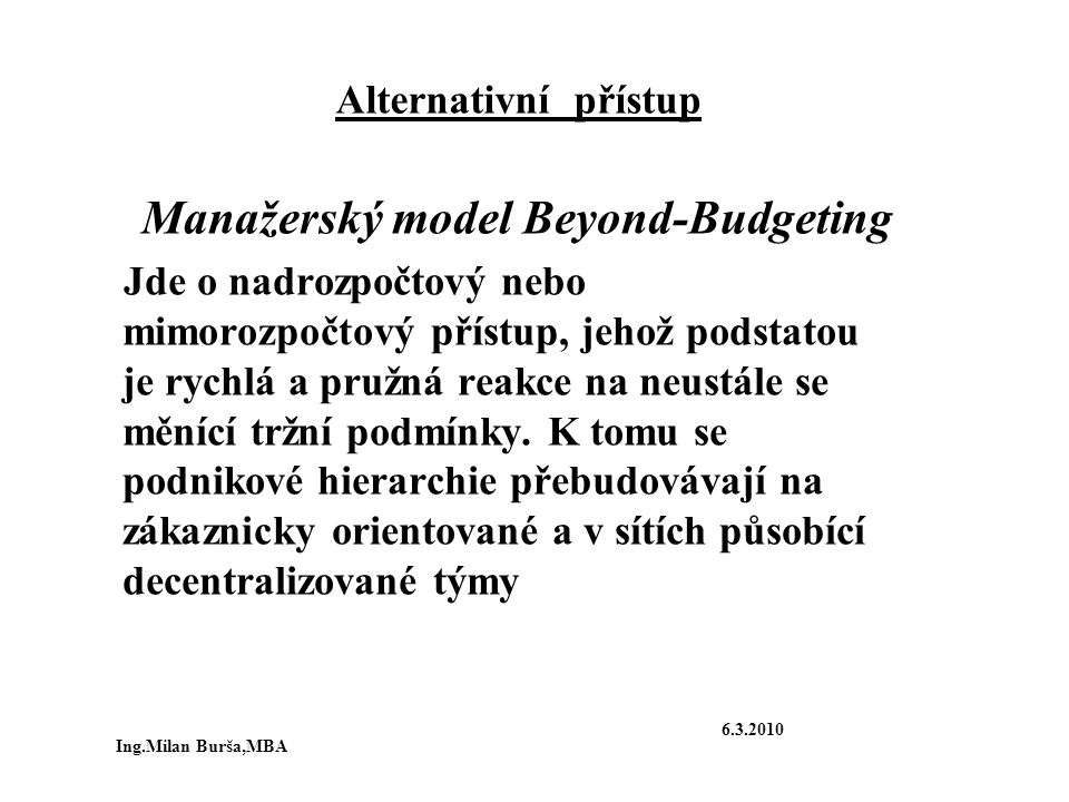 Manažerský model Beyond-Budgeting