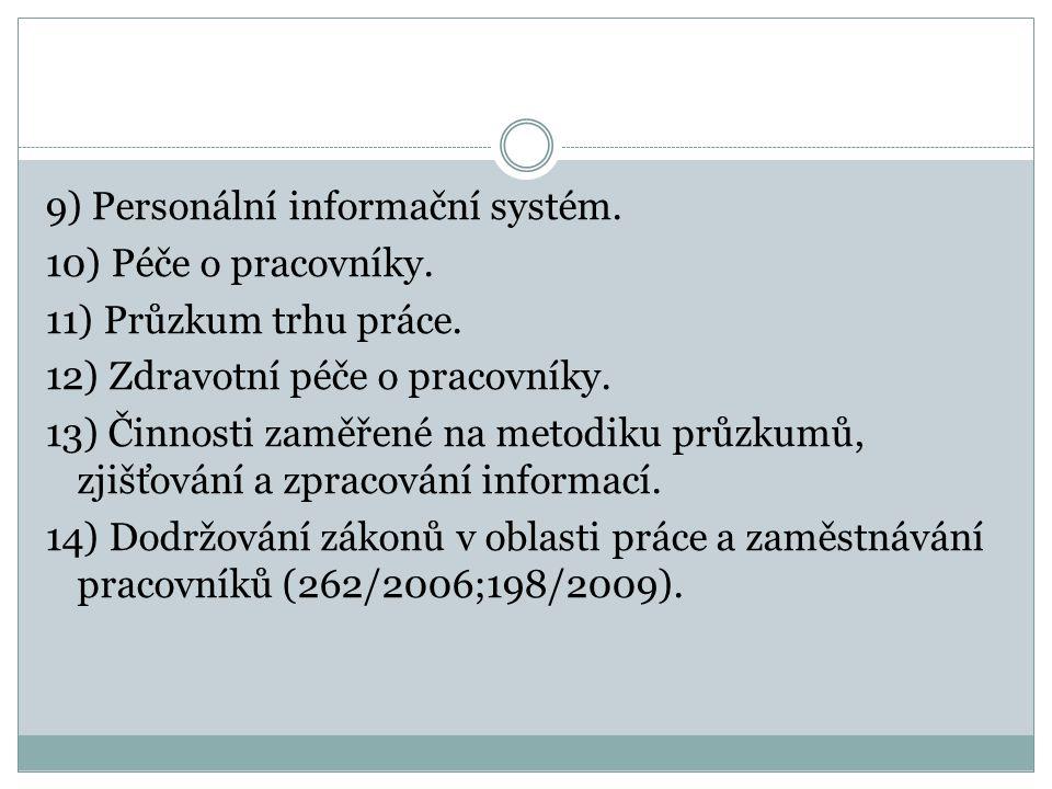 9) Personální informační systém. 10) Péče o pracovníky