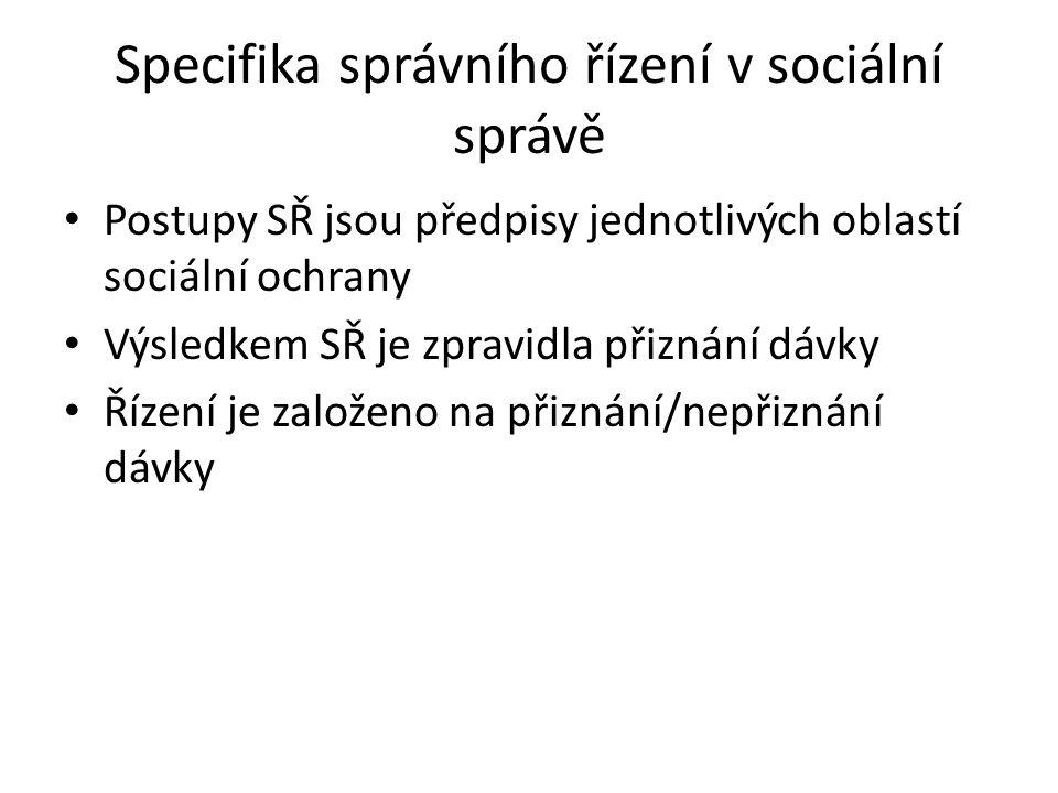 Specifika správního řízení v sociální správě