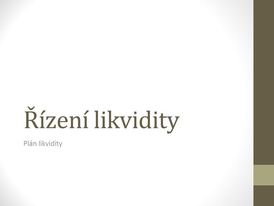 Řízení likvidity Plán likvidity