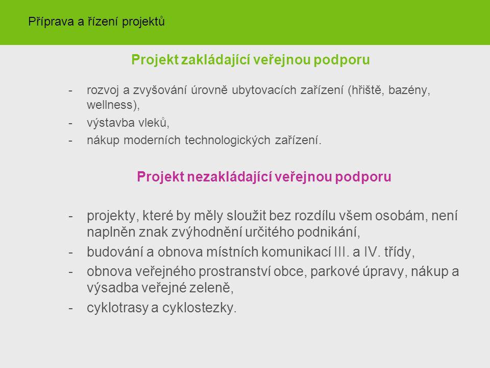 Projekt zakládající veřejnou podporu