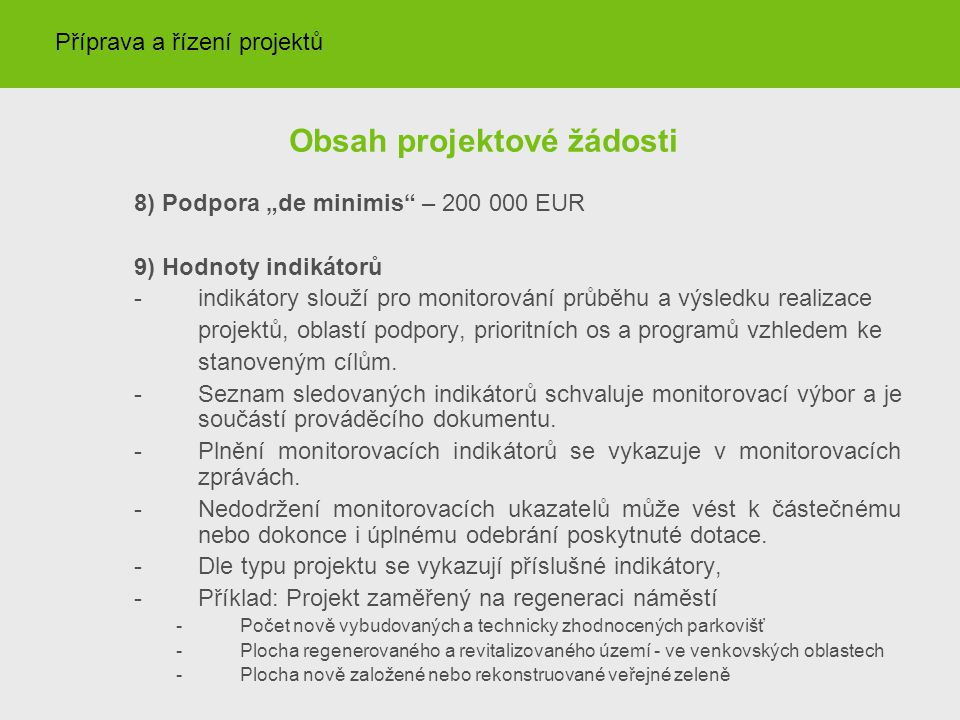 Obsah projektové žádosti