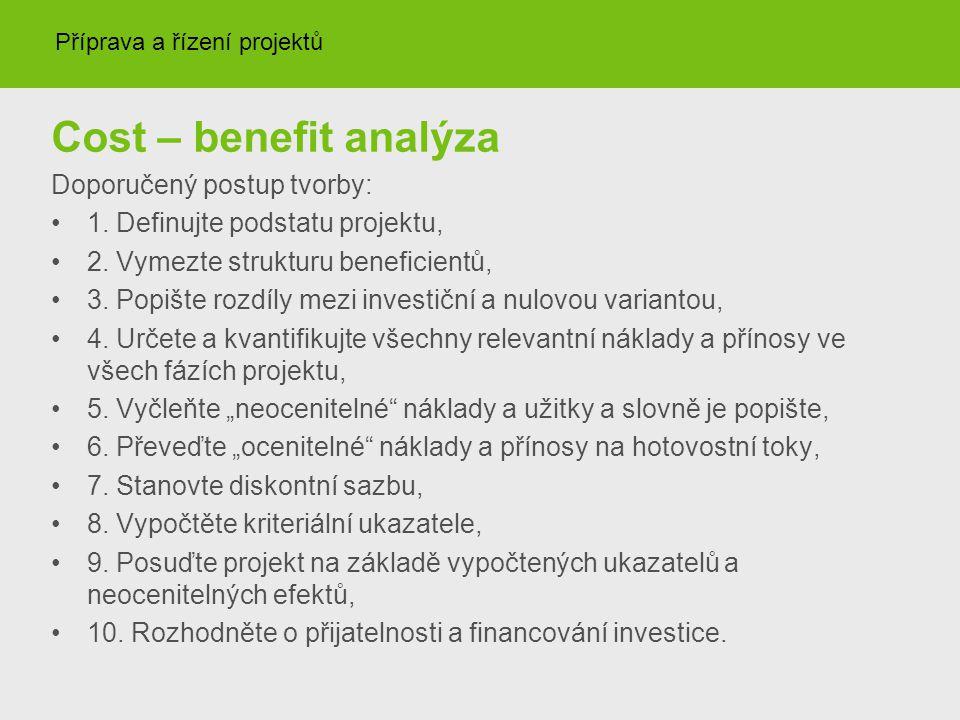 Cost – benefit analýza Doporučený postup tvorby: