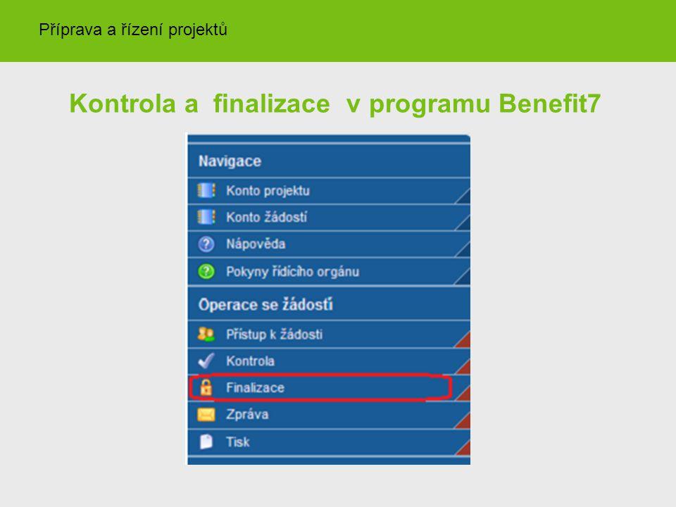 Kontrola a finalizace v programu Benefit7