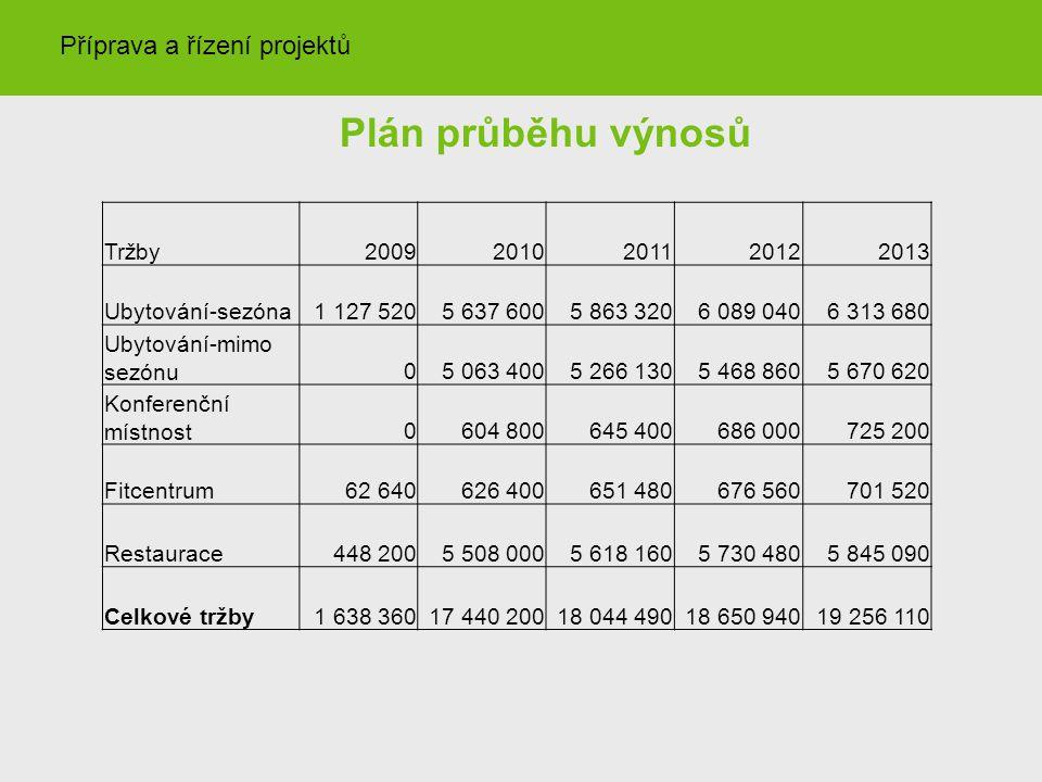 Plán průběhu výnosů Příprava a řízení projektů Tržby 2009 2010 2011