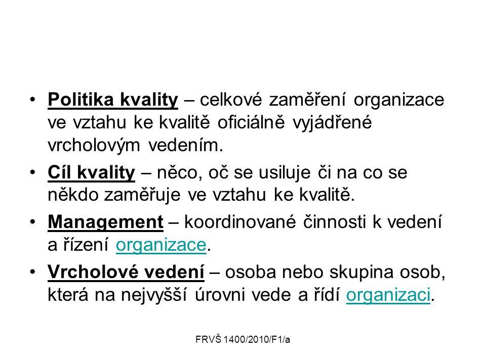 Management – koordinované činnosti k vedení a řízení organizace.