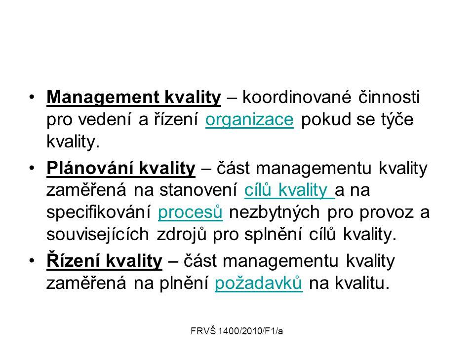 Management kvality – koordinované činnosti pro vedení a řízení organizace pokud se týče kvality.