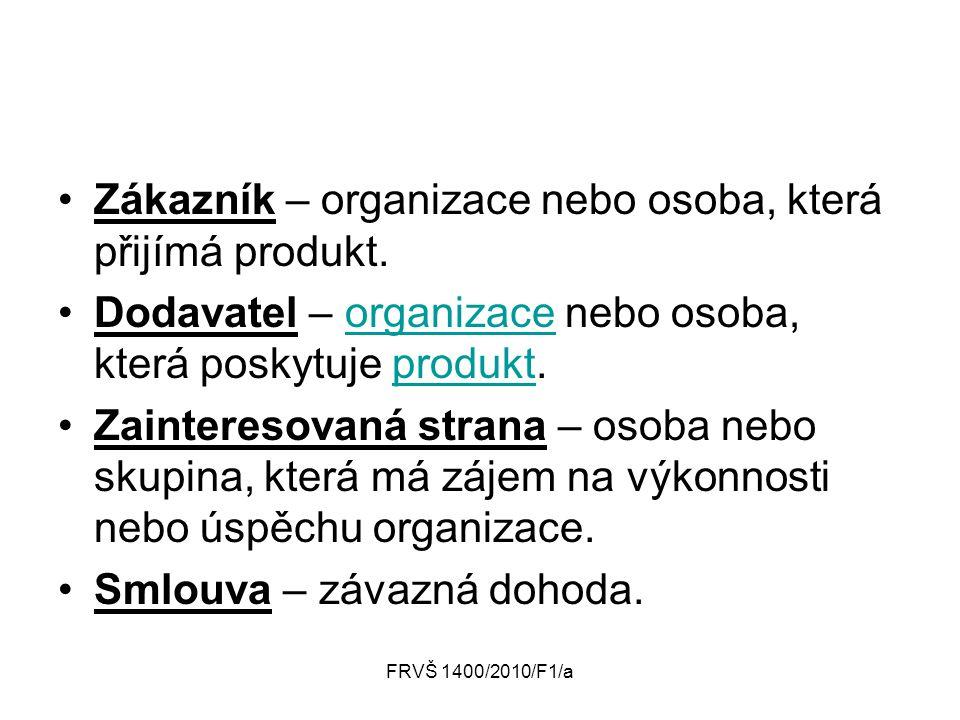 Zákazník – organizace nebo osoba, která přijímá produkt.