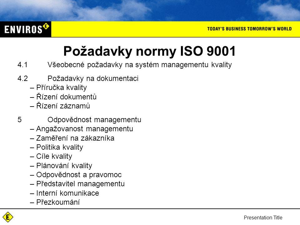 Požadavky normy ISO 9001 4.1 Všeobecné požadavky na systém managementu kvality. 4.2 Požadavky na dokumentaci.
