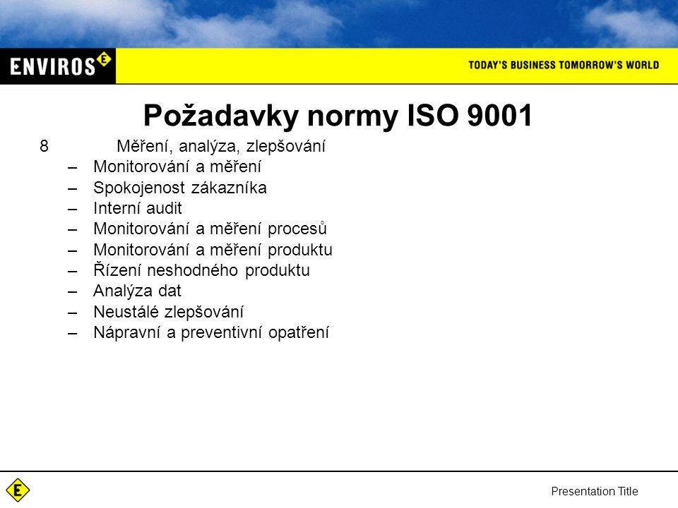 Požadavky normy ISO 9001 Měření, analýza, zlepšování