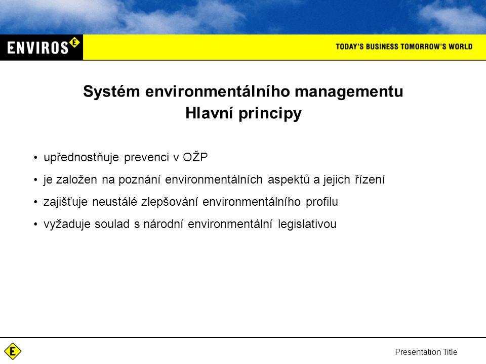 Systém environmentálního managementu Hlavní principy