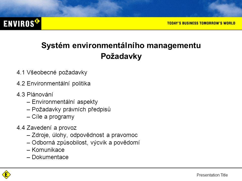 Systém environmentálního managementu Požadavky