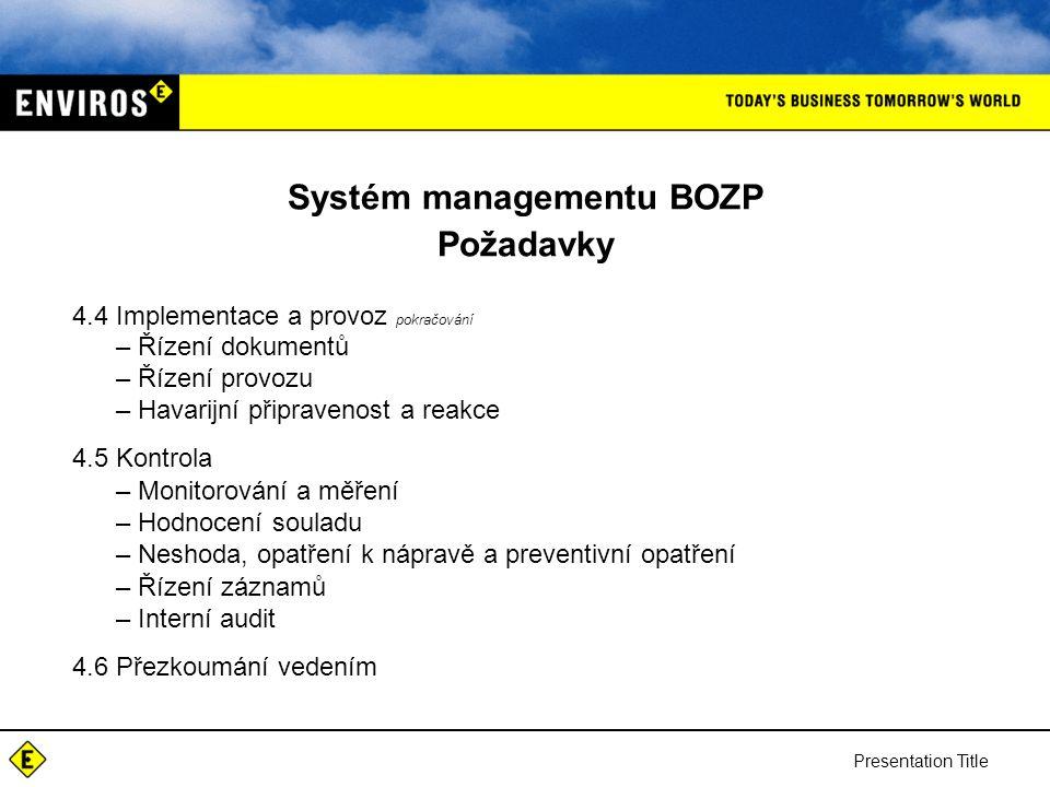 Systém managementu BOZP Požadavky