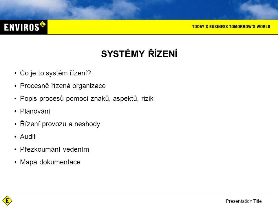 SYSTÉMY ŘÍZENÍ Co je to systém řízení Procesně řízená organizace