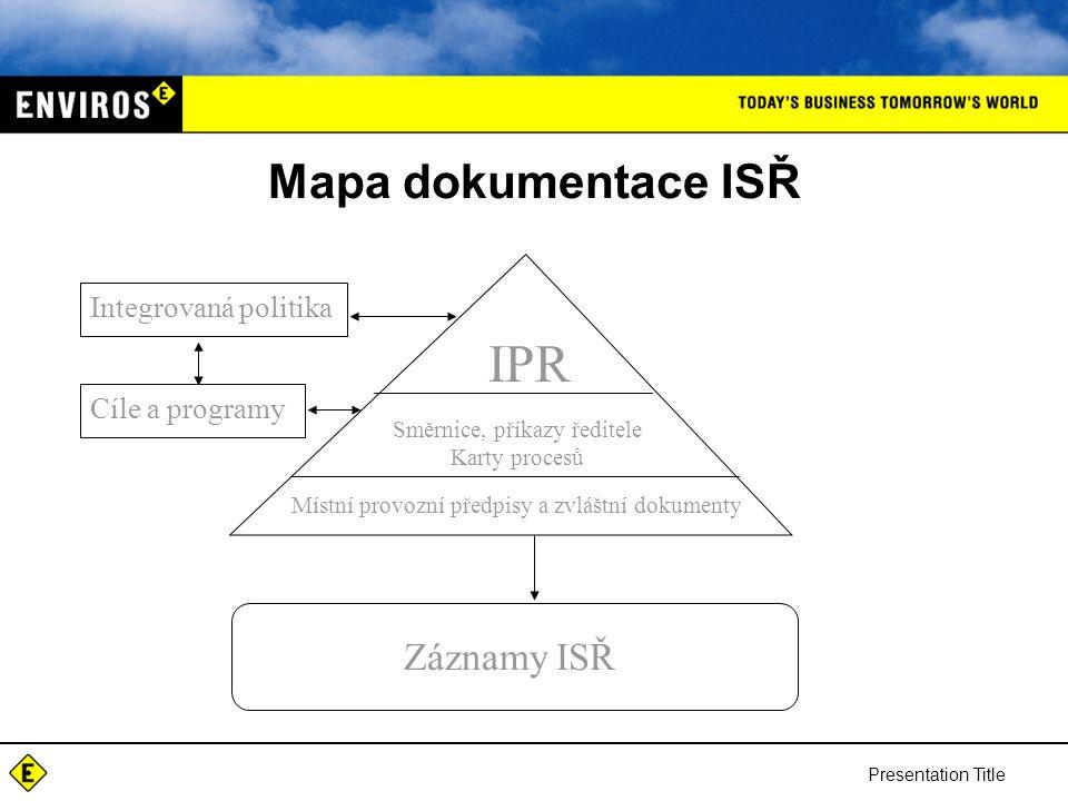IPR Mapa dokumentace ISŘ Záznamy ISŘ Integrovaná politika