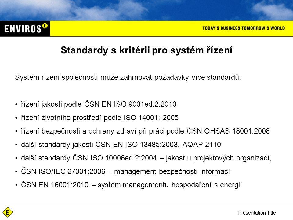 Standardy s kritérii pro systém řízení