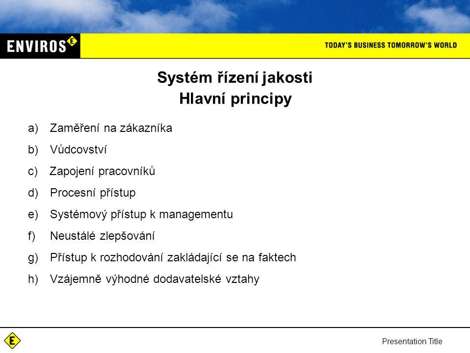 Systém řízení jakosti Hlavní principy