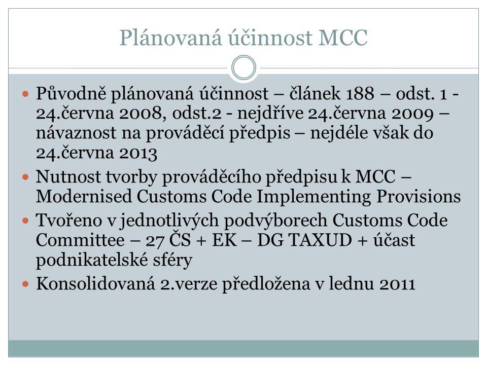 Plánovaná účinnost MCC