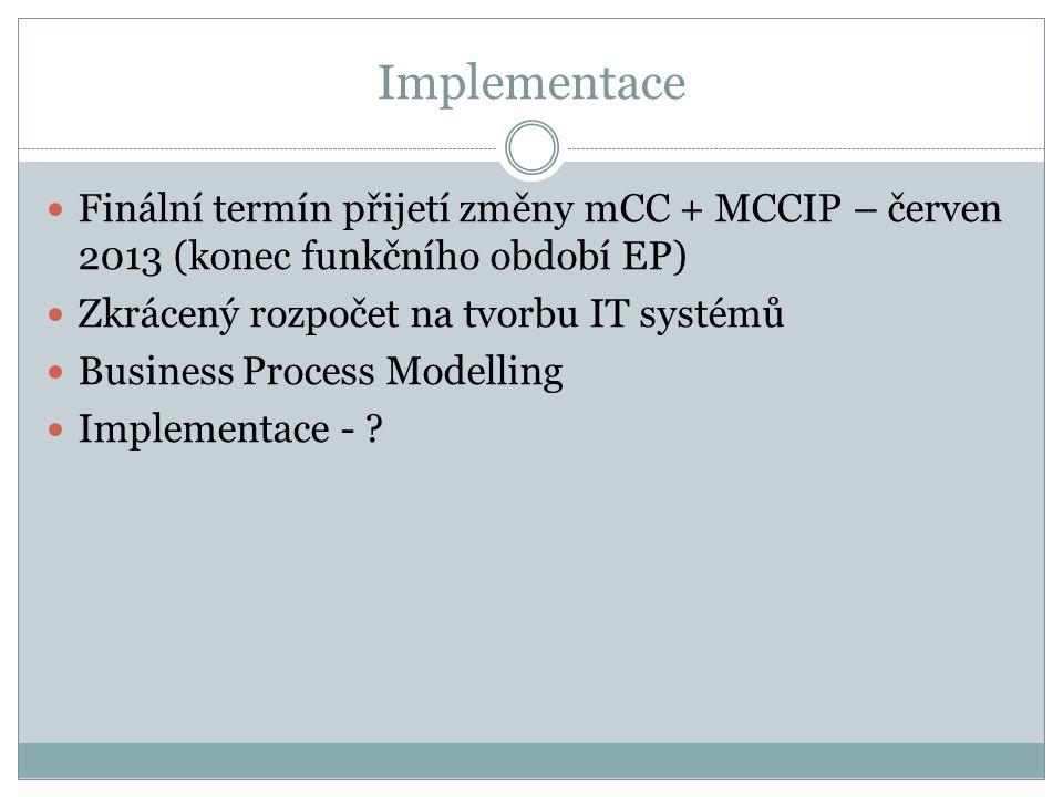 Implementace Finální termín přijetí změny mCC + MCCIP – červen 2013 (konec funkčního období EP) Zkrácený rozpočet na tvorbu IT systémů.