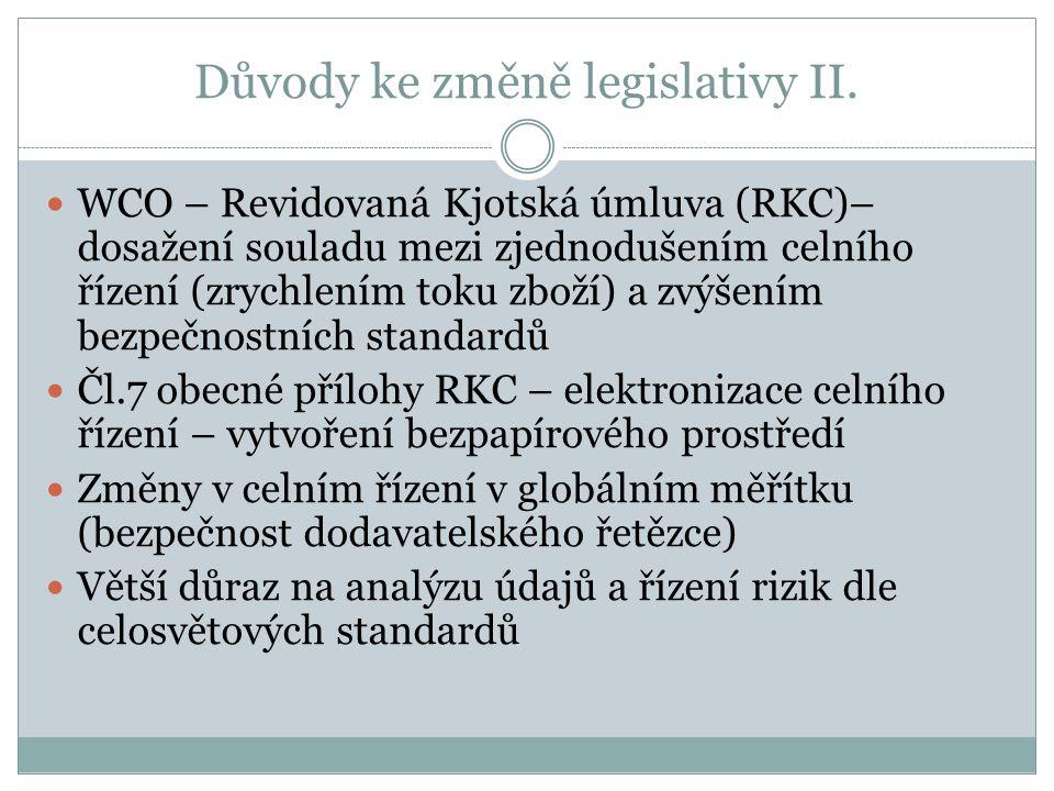 Důvody ke změně legislativy II.