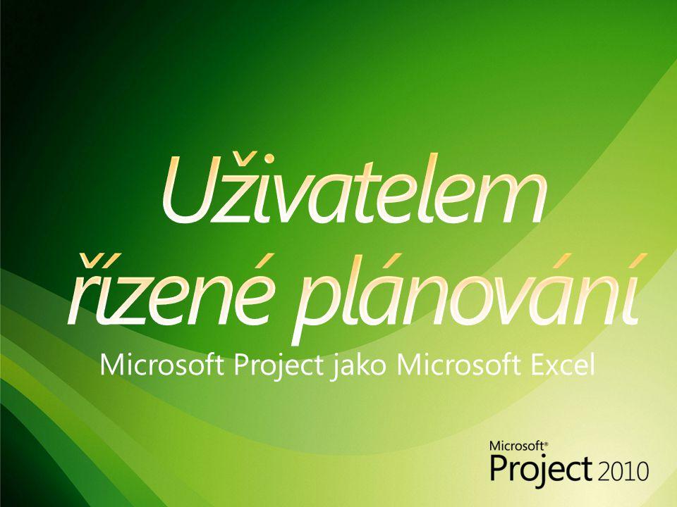 Microsoft Project jako Microsoft Excel