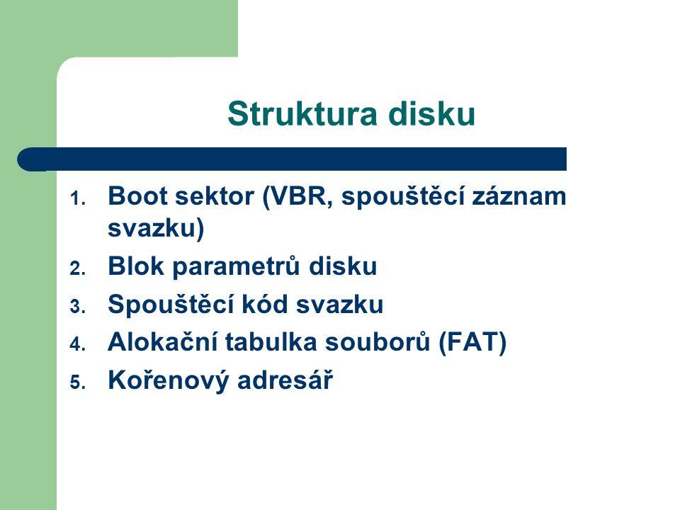 Struktura disku Boot sektor (VBR, spouštěcí záznam svazku)