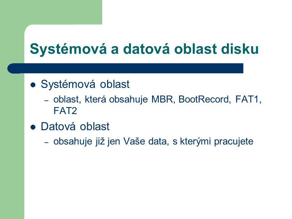 Systémová a datová oblast disku