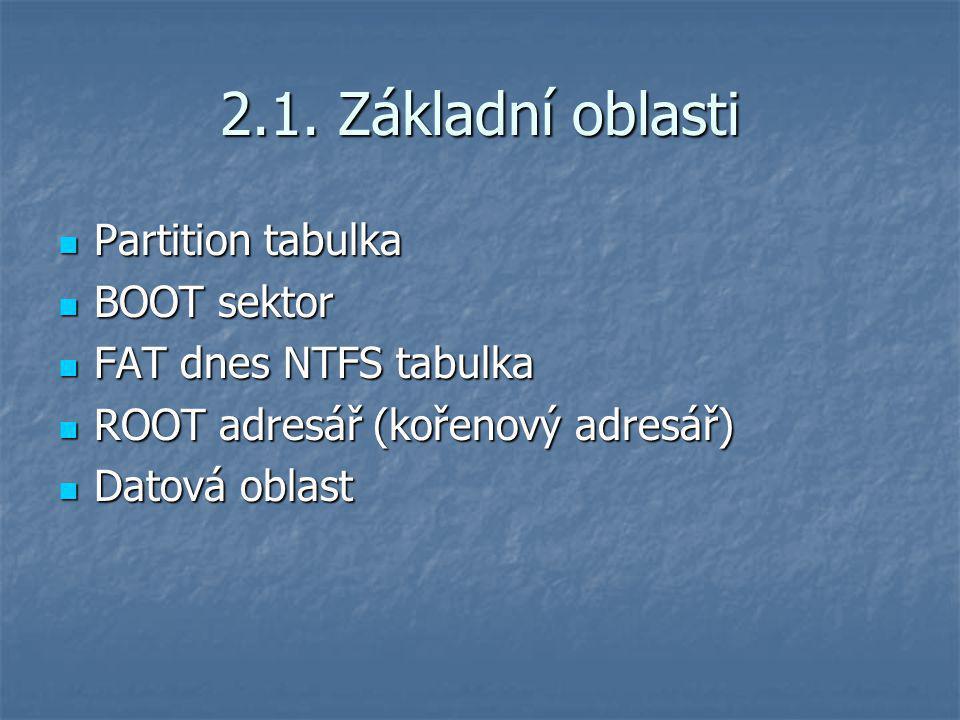 2.1. Základní oblasti Partition tabulka BOOT sektor