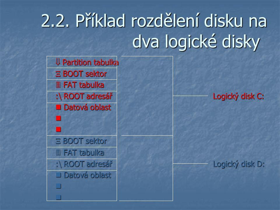 2.2. Příklad rozdělení disku na dva logické disky