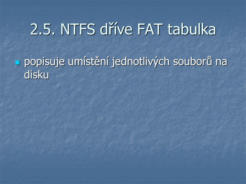 2.5. NTFS dříve FAT tabulka popisuje umístění jednotlivých souborů na disku