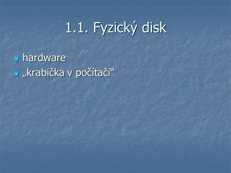 """1.1. Fyzický disk hardware """"krabička v počítači"""