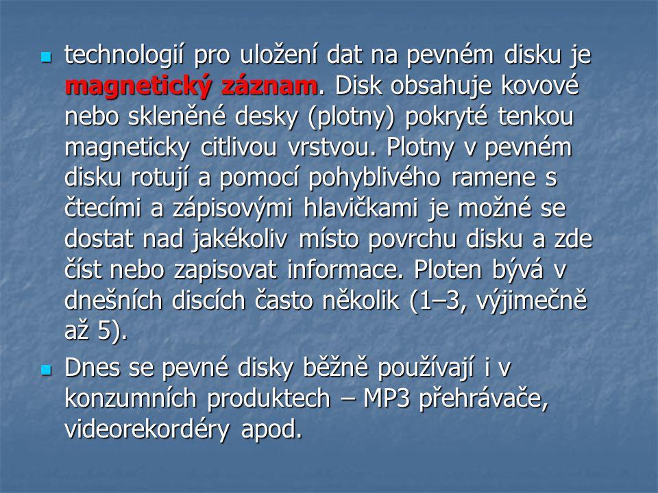 technologií pro uložení dat na pevném disku je magnetický záznam