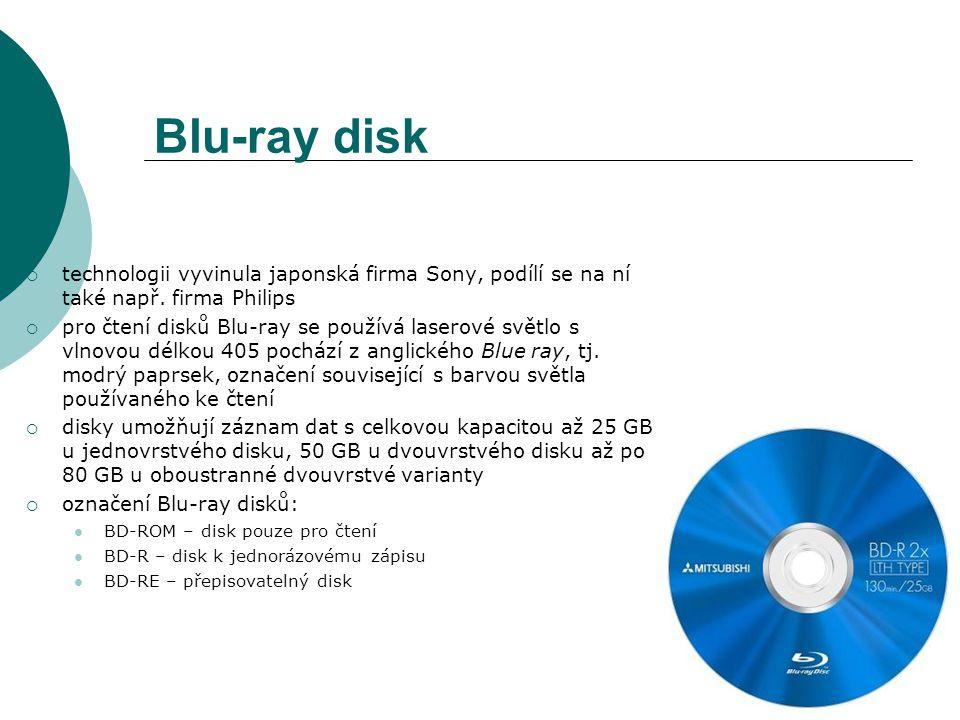 Blu-ray disk technologii vyvinula japonská firma Sony, podílí se na ní také např. firma Philips.