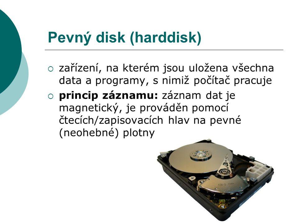 Pevný disk (harddisk) zařízení, na kterém jsou uložena všechna data a programy, s nimiž počítač pracuje.