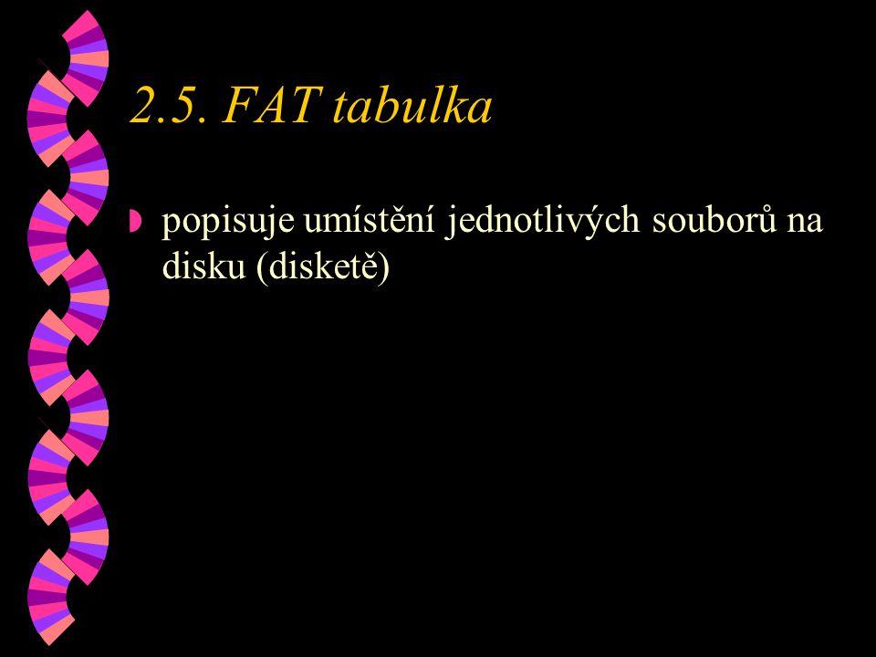 2.5. FAT tabulka popisuje umístění jednotlivých souborů na disku (disketě)
