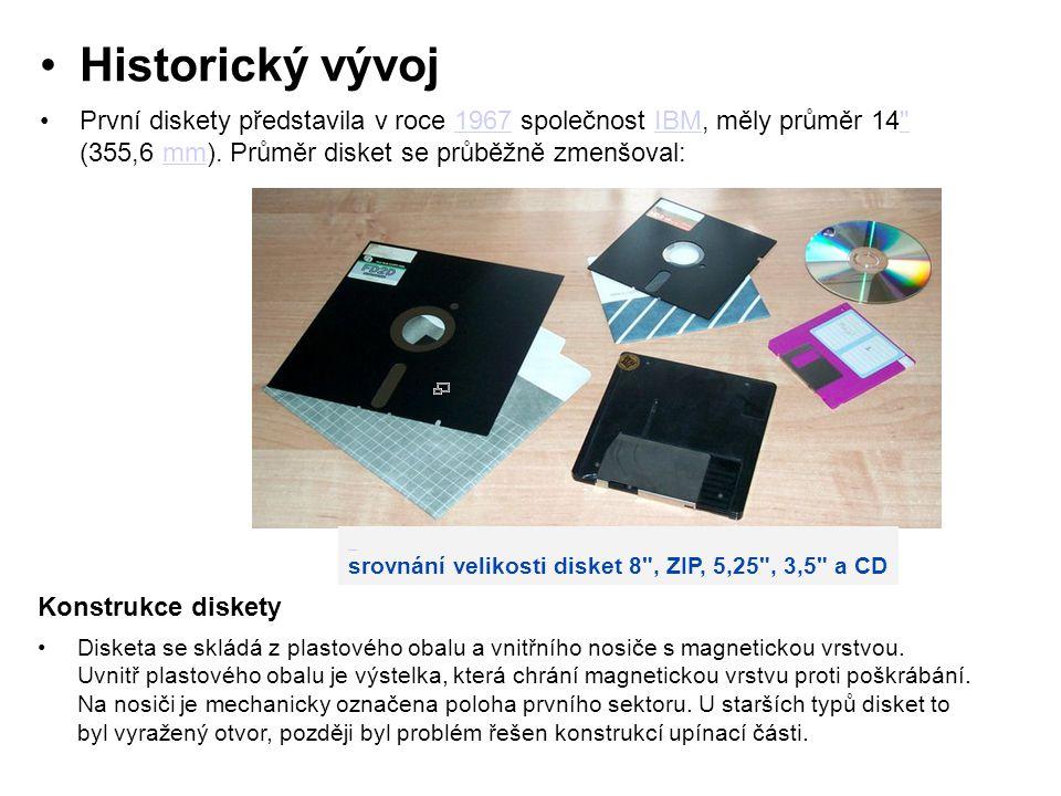 Historický vývoj První diskety představila v roce 1967 společnost IBM, měly průměr 14 (355,6 mm). Průměr disket se průběžně zmenšoval: