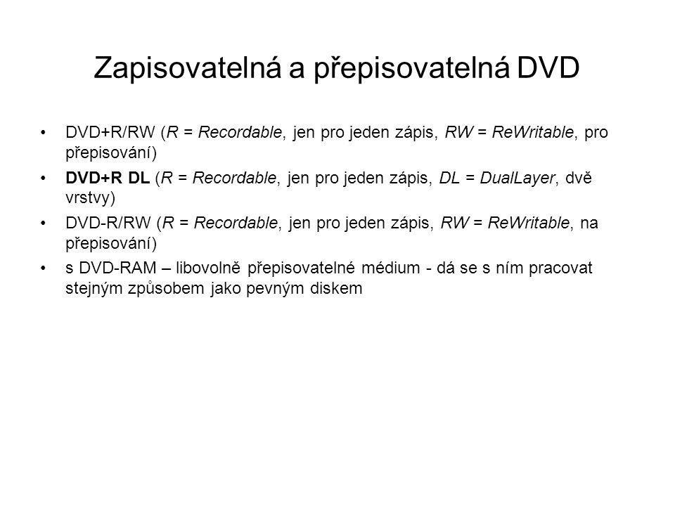 Zapisovatelná a přepisovatelná DVD