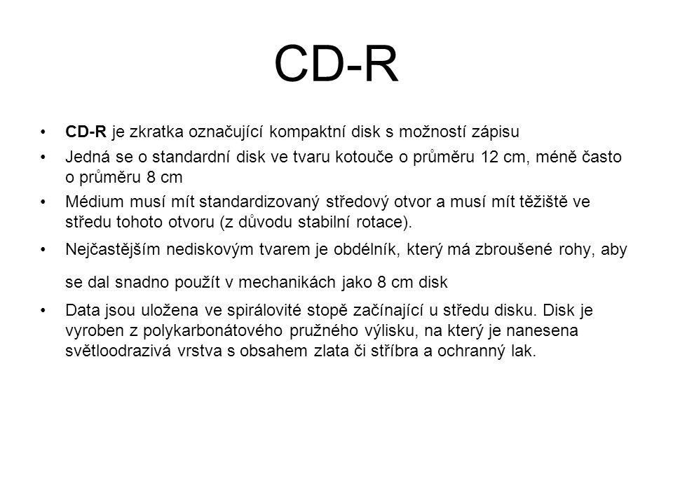 CD-R CD-R je zkratka označující kompaktní disk s možností zápisu