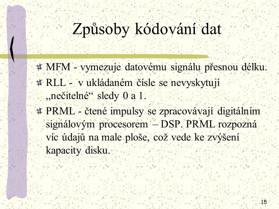 Způsoby kódování dat MFM - vymezuje datovému signálu přesnou délku.