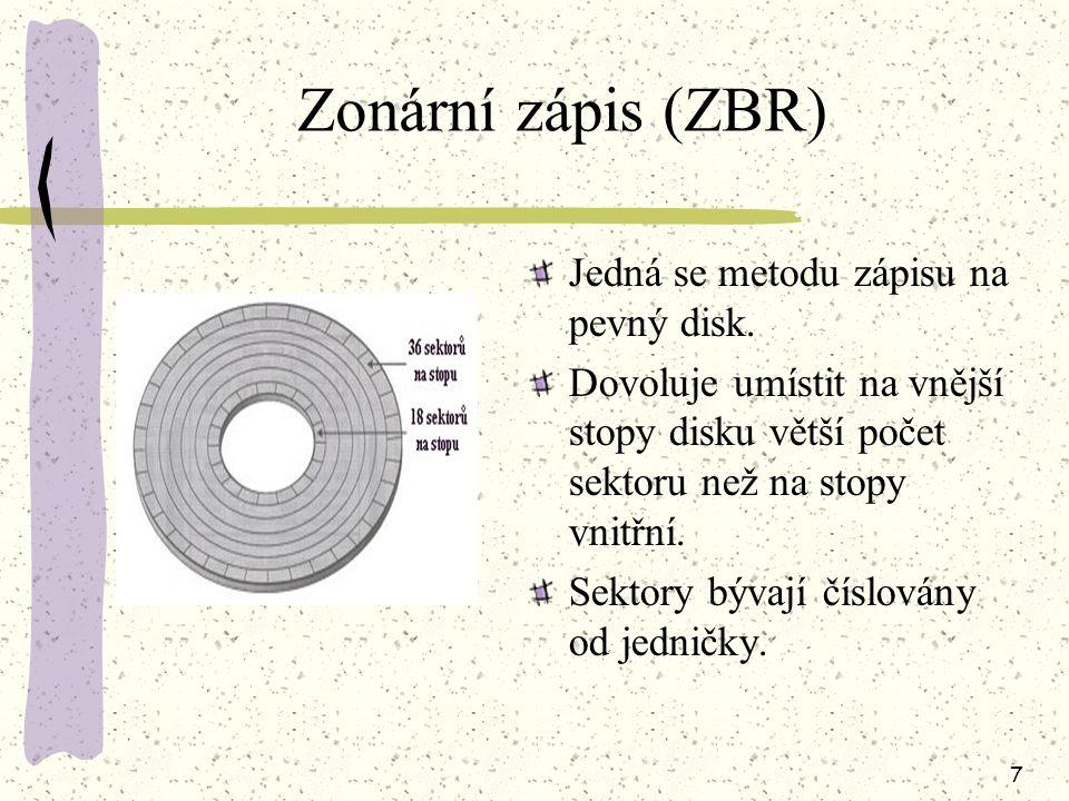 Zonární zápis (ZBR) Jedná se metodu zápisu na pevný disk.