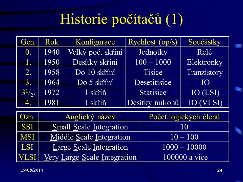 Historie počítačů (1) Gen. Rok Konfigurace Rychlost (op/s) Součástky