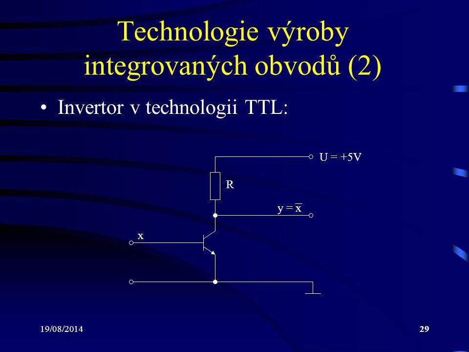 Technologie výroby integrovaných obvodů (2)