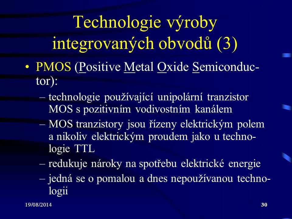 Technologie výroby integrovaných obvodů (3)