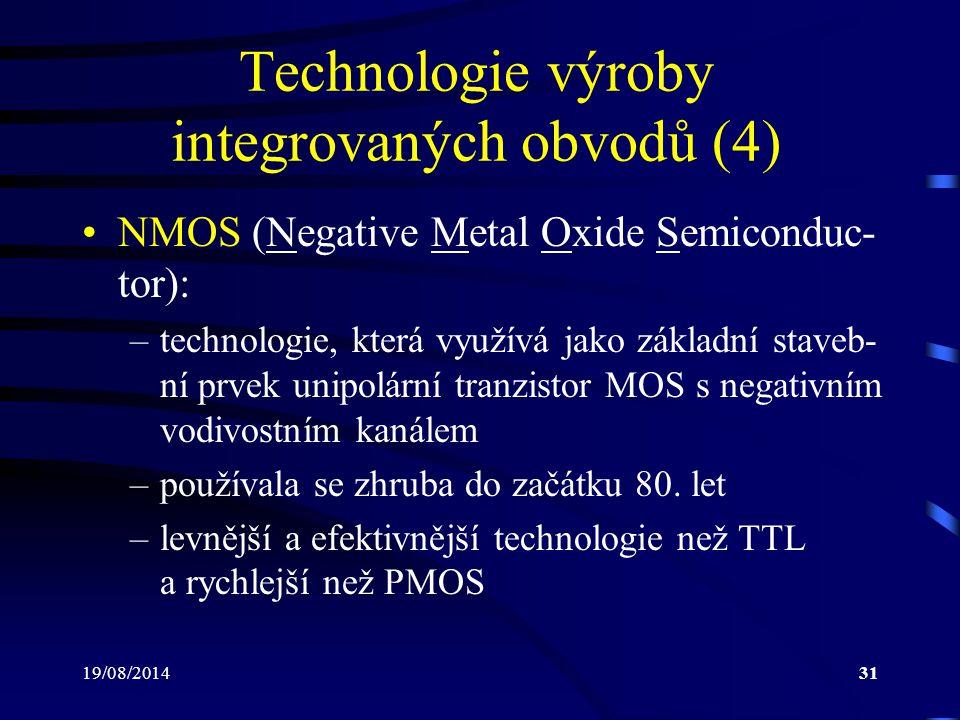 Technologie výroby integrovaných obvodů (4)