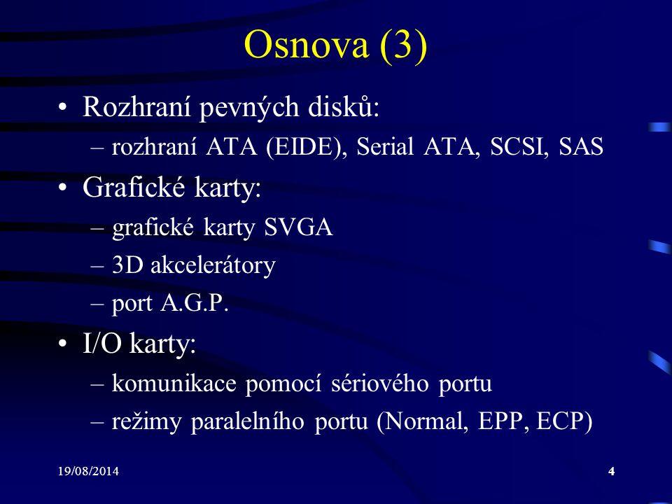 Osnova (3) Rozhraní pevných disků: Grafické karty: I/O karty: