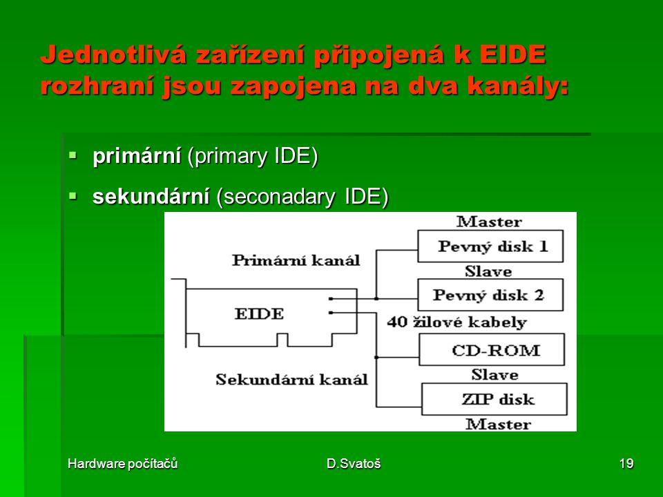 Jednotlivá zařízení připojená k EIDE rozhraní jsou zapojena na dva kanály: