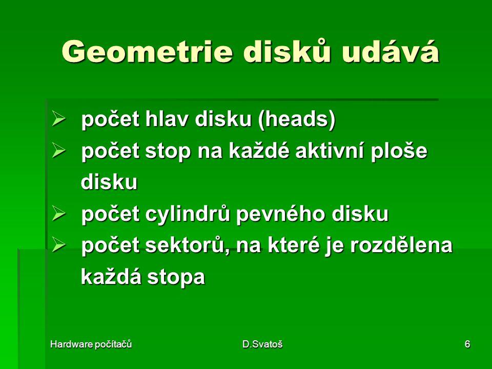 Geometrie disků udává počet hlav disku (heads)