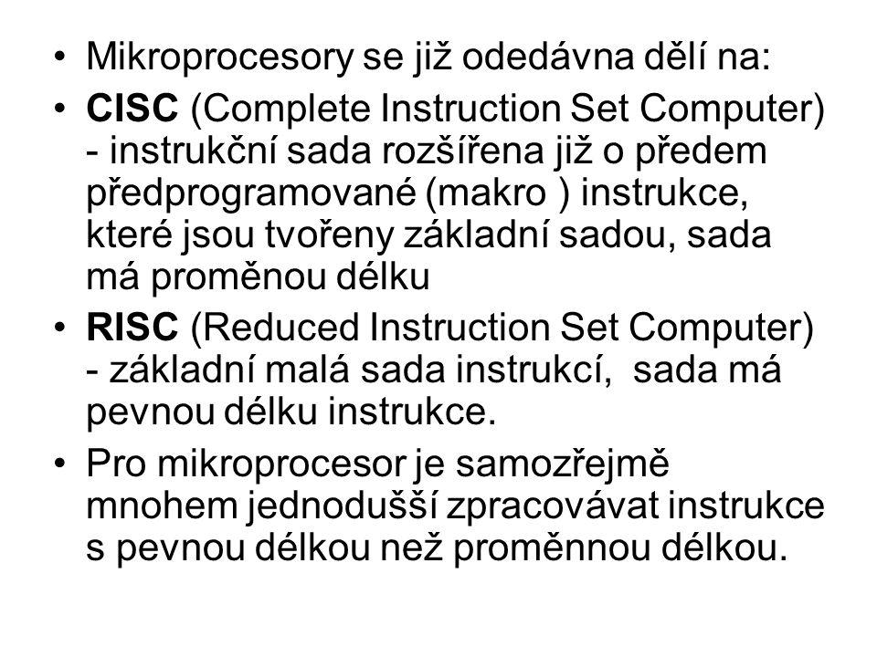 Mikroprocesory se již odedávna dělí na: