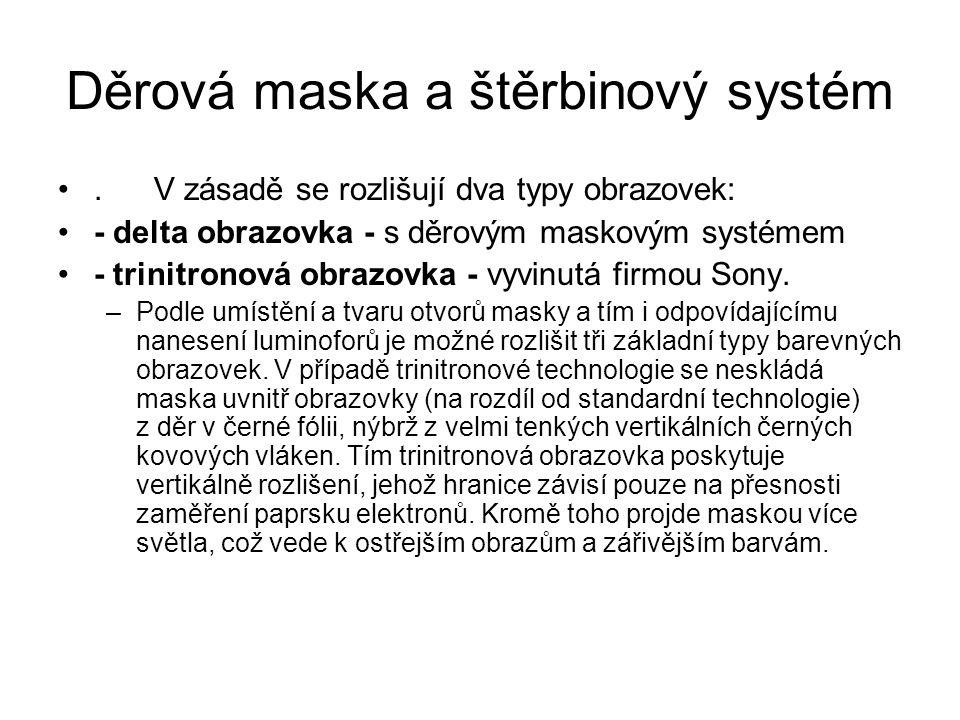 Děrová maska a štěrbinový systém